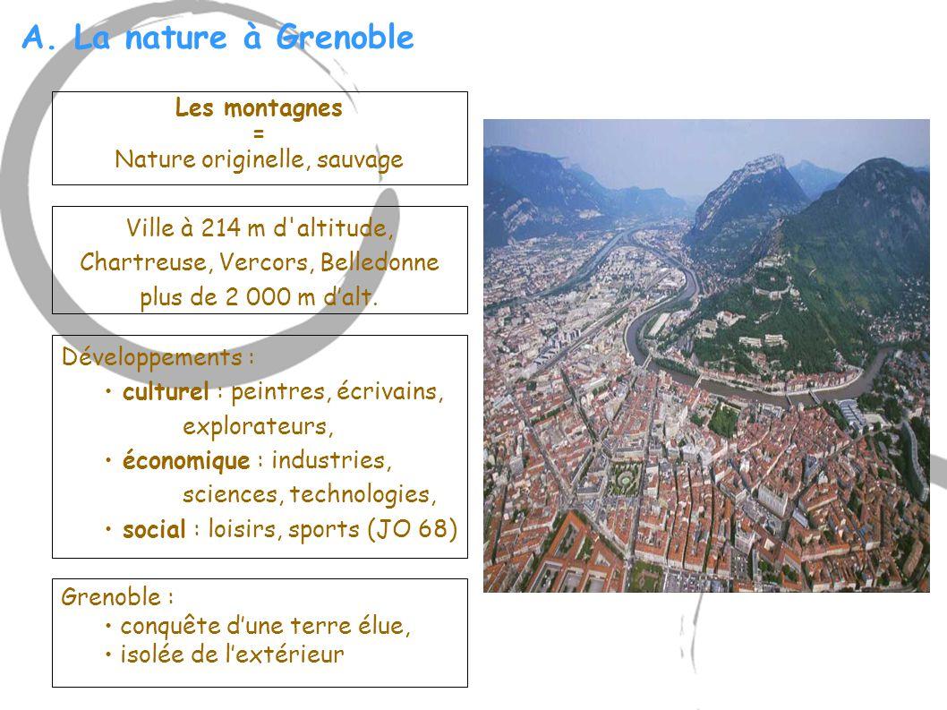 A. La nature à Grenoble Ville à 214 m d'altitude, Chartreuse, Vercors, Belledonne plus de 2 000 m d'alt. Les montagnes = Nature originelle, sauvage Gr