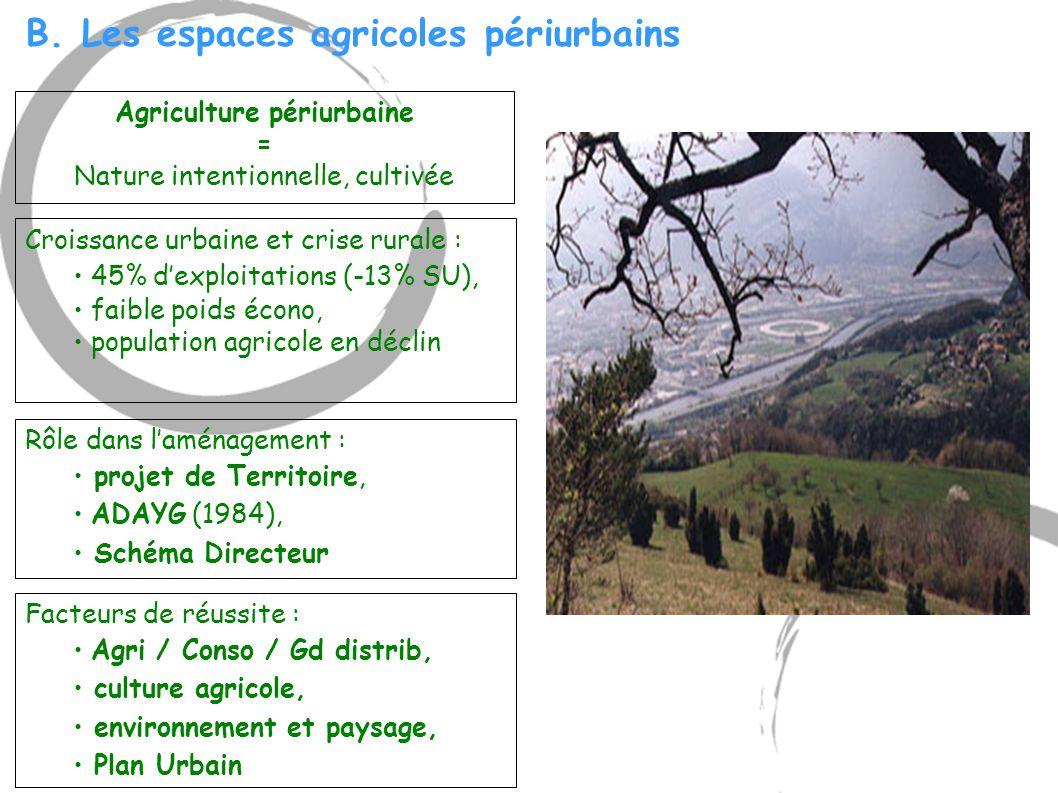 B. Les espaces agricoles périurbains Rôle dans l'aménagement : projet de Territoire, ADAYG (1984), Schéma Directeur Croissance urbaine et crise rurale