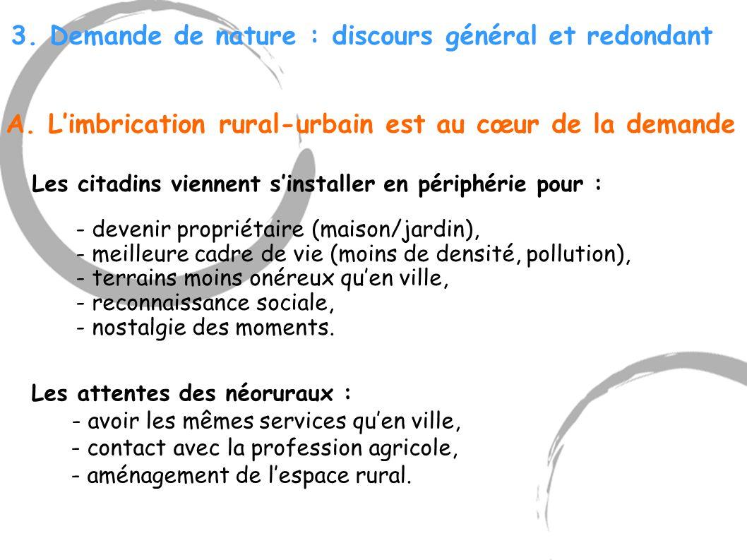 3. Demande de nature : discours général et redondant A. L'imbrication rural-urbain est au cœur de la demande Les citadins viennent s'installer en péri