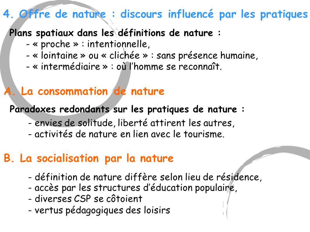4. Offre de nature : discours influencé par les pratiques Plans spatiaux dans les définitions de nature : - « proche » : intentionnelle, - « lointaine