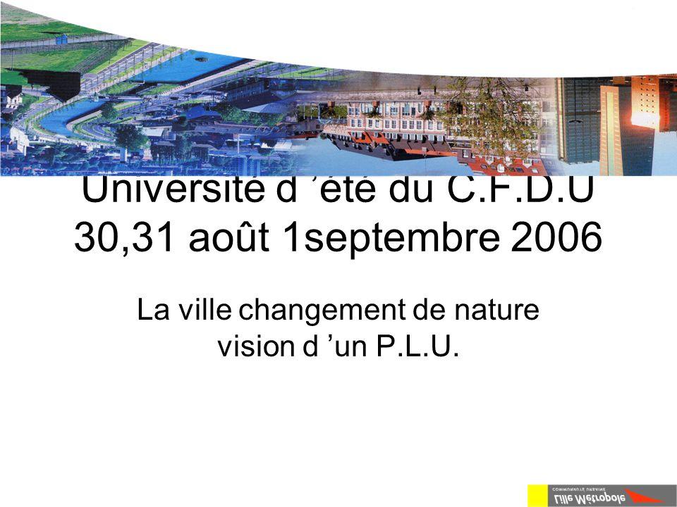 Université d 'été du C.F.D.U 30,31 août 1septembre 2006 La ville changement de nature vision d 'un P.L.U.