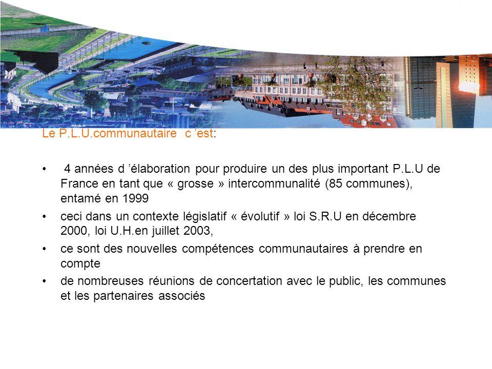Le P.L.U. de L.M.CU. Le P.L.U.communautaire c 'est: 4 années d 'élaboration pour produire un des plus important P.L.U de France en tant que « grosse »