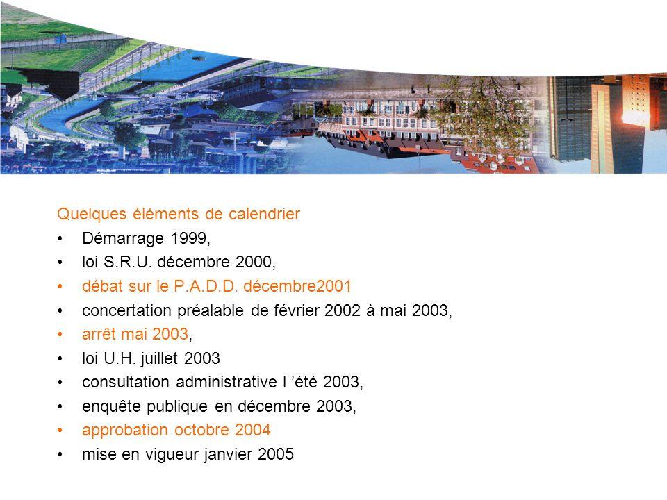 Le P.L.U. de L.M.CU. Quelques éléments de calendrier Démarrage 1999, loi S.R.U. décembre 2000, débat sur le P.A.D.D. décembre2001 concertation préalab