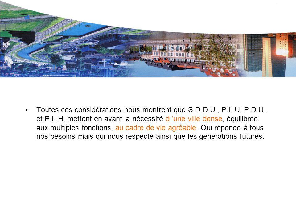 Le P.L.U. de L.M.CU. Toutes ces considérations nous montrent que S.D.D.U., P.L.U, P.D.U., et P.L.H, mettent en avant la nécessité d 'une ville dense,