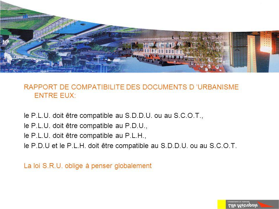 La loi S.R.U. RAPPORT DE COMPATIBILITE DES DOCUMENTS D 'URBANISME ENTRE EUX: le P.L.U. doit être compatible au S.D.D.U. ou au S.C.O.T., le P.L.U. doit