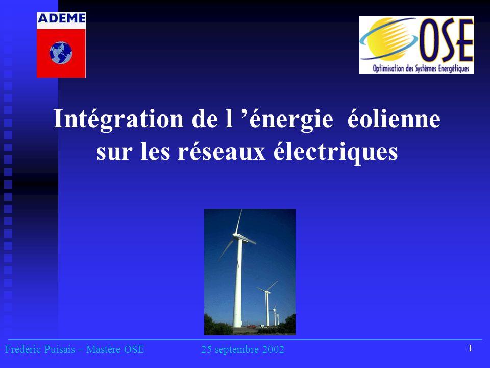 1 Intégration de l 'énergie éolienne sur les réseaux électriques Frédéric Puisais – Mastère OSE25 septembre 2002