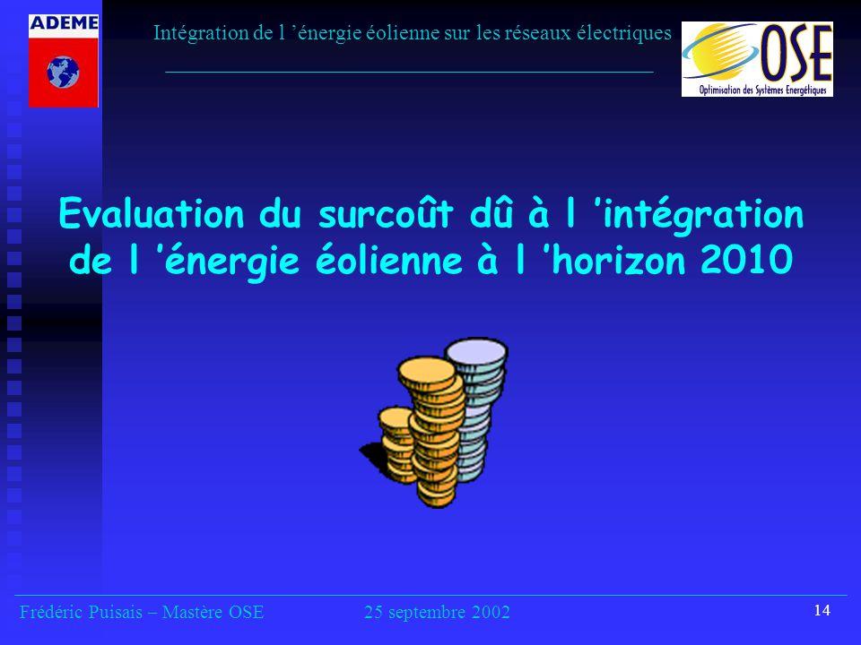 14 Evaluation du surcoût dû à l 'intégration de l 'énergie éolienne à l 'horizon 2010 Intégration de l 'énergie éolienne sur les réseaux électriques Frédéric Puisais – Mastère OSE25 septembre 2002