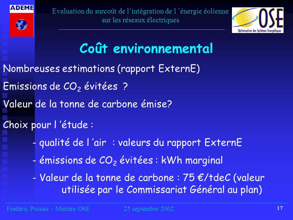 17 Coût environnemental Nombreuses estimations (rapport ExternE) Emissions de CO 2 évitées .