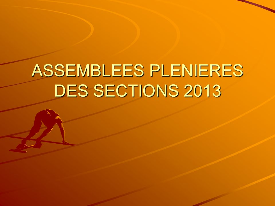 ASSEMBLEES PLENIERES DES SECTIONS 2013