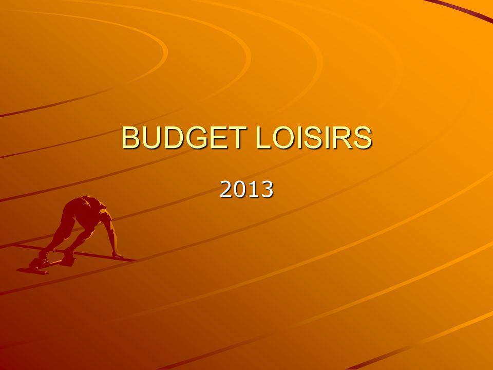 BUDGET LOISIRS 2013