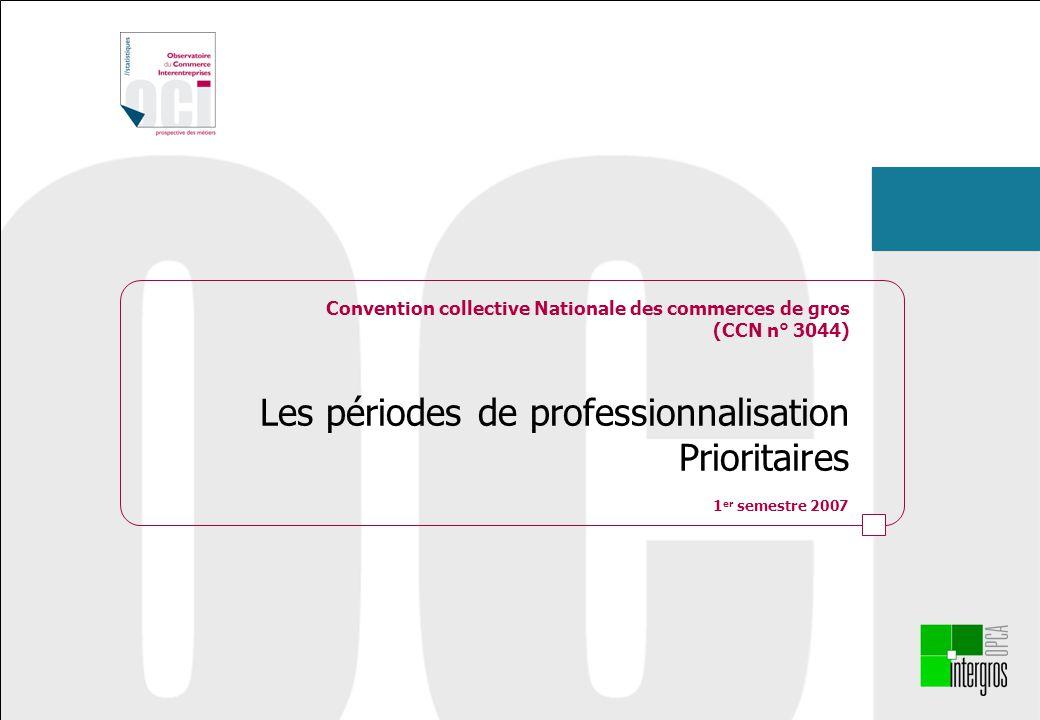 Convention collective Nationale des commerces de gros (CCN n° 3044) Les périodes de professionnalisation Prioritaires 1 er semestre 2007