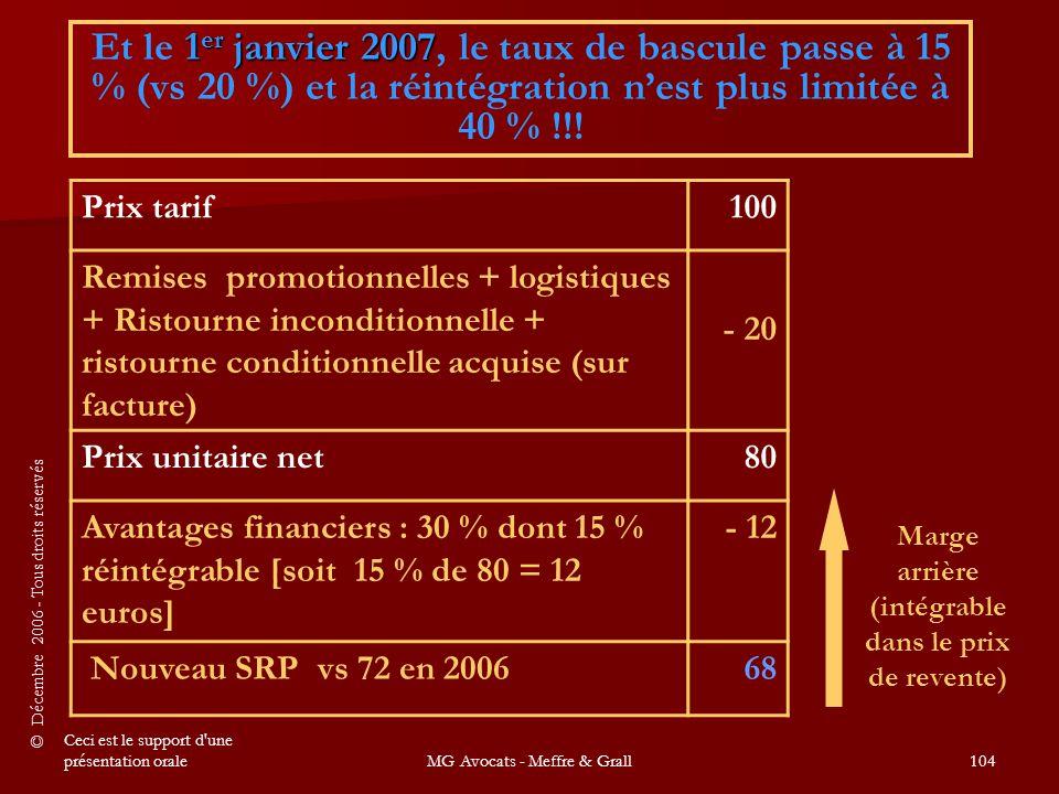 © Décembre 2006 - Tous droits réservés Ceci est le support d une présentation oraleMG Avocats - Meffre & Grall104 1 er janvier 2007 Et le 1 er janvier 2007, le taux de bascule passe à 15 % (vs 20 %) et la réintégration n'est plus limitée à 40 % !!.