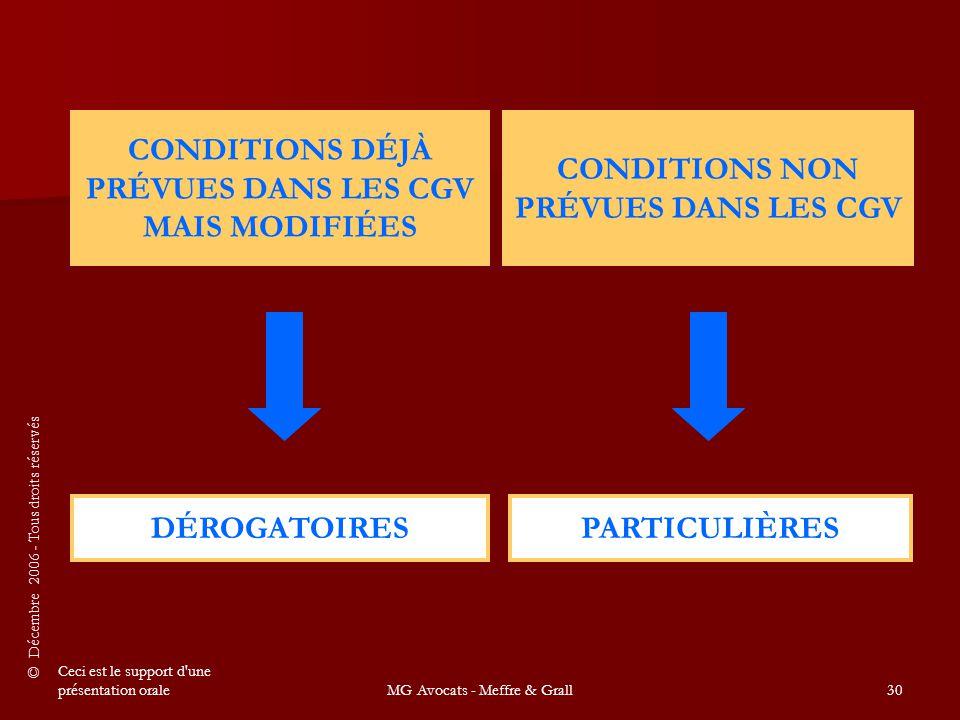 © Décembre 2006 - Tous droits réservés Ceci est le support d une présentation oraleMG Avocats - Meffre & Grall30 CONDITIONS DÉJÀ PRÉVUES DANS LES CGV MAIS MODIFIÉES CONDITIONS NON PRÉVUES DANS LES CGV DÉROGATOIRESPARTICULIÈRES
