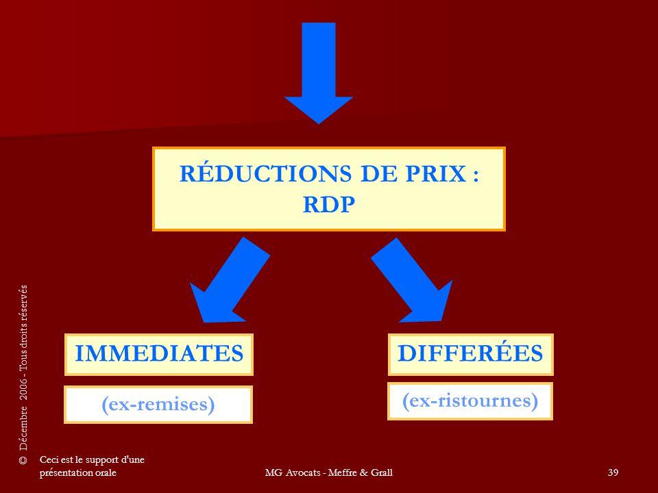 © Décembre 2006 - Tous droits réservés Ceci est le support d une présentation oraleMG Avocats - Meffre & Grall39 (ex-remises) IMMEDIATESDIFFERÉES (ex-ristournes) RÉDUCTIONS DE PRIX : RDP