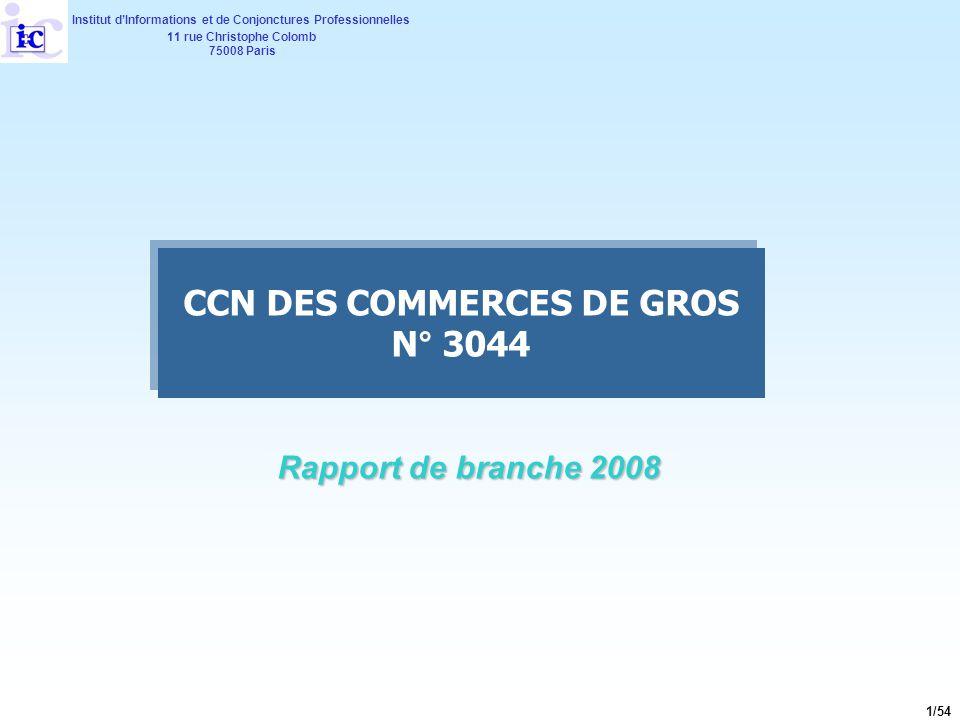 12/54 CHAPITRE I : DENOMBREMENT ET ACTIVITE DES ENTREPRISES II – CHIFFRE D'AFFAIRES DE LA PROFESSION CCN des commerces de gros N°3044 – Rapport de branche 2008 Evolution du chiffre d'affaires 2008/2007 (à périmètre constant) 2.
