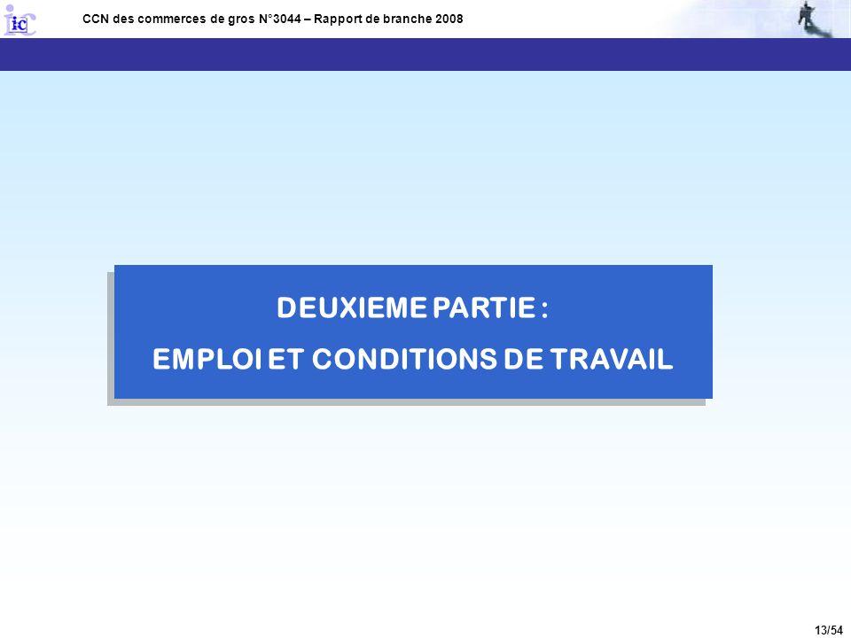 13/54 DEUXIEME PARTIE : EMPLOI ET CONDITIONS DE TRAVAIL CCN des commerces de gros N°3044 – Rapport de branche 2008