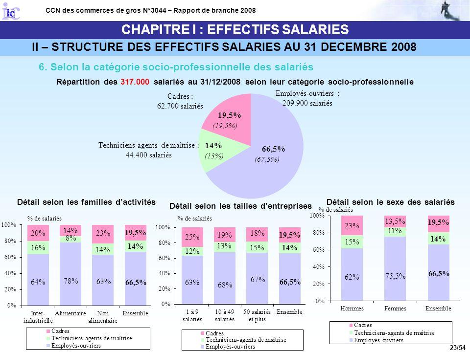 23/54 CHAPITRE I : EFFECTIFS SALARIES CCN des commerces de gros N°3044 – Rapport de branche 2008 6. Selon la catégorie socio-professionnelle des salar