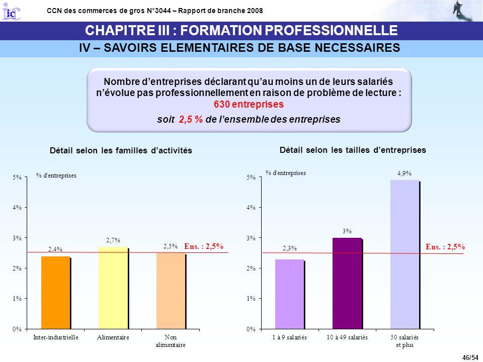 46/54 CHAPITRE III : FORMATION PROFESSIONNELLE CCN des commerces de gros N°3044 – Rapport de branche 2008 IV – SAVOIRS ELEMENTAIRES DE BASE NECESSAIRE