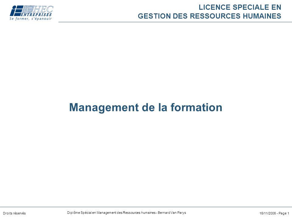 Droits réservés Diplôme Spécial en Management des Ressources humaines - Bernard Van Parys 15/11/2006 - Page 1 LICENCE SPECIALE EN GESTION DES RESSOURC