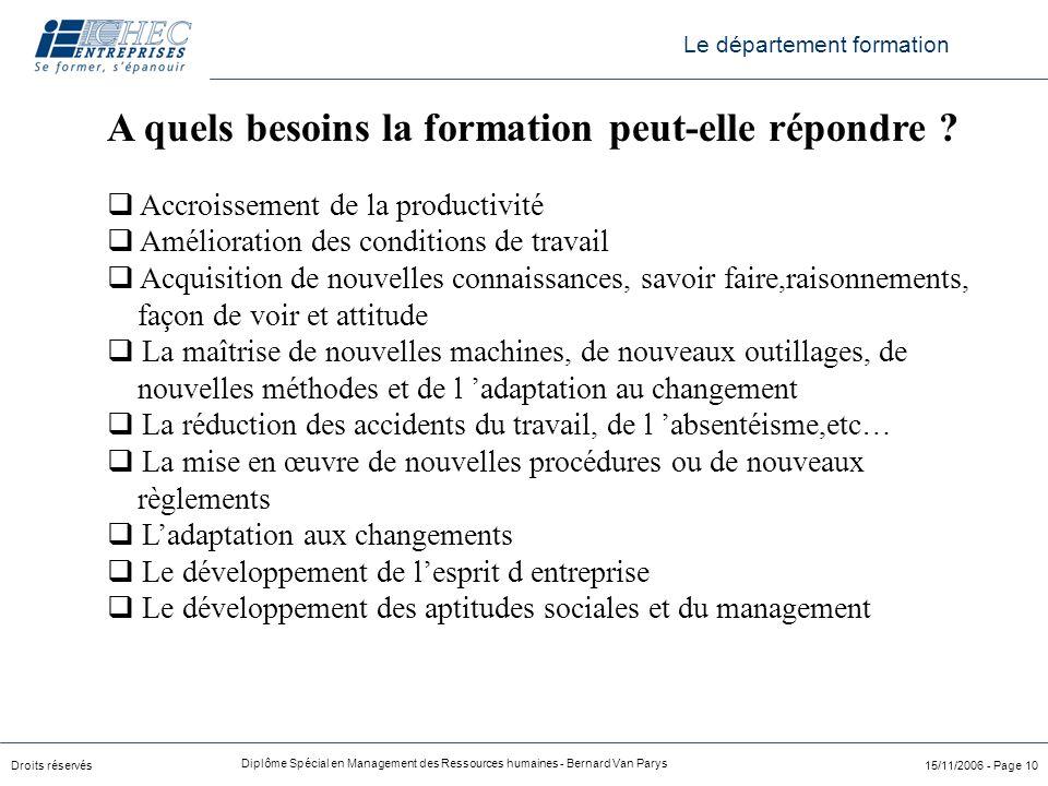 Droits réservés Diplôme Spécial en Management des Ressources humaines - Bernard Van Parys 15/11/2006 - Page 10 A quels besoins la formation peut-elle