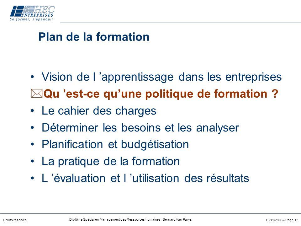 Droits réservés Diplôme Spécial en Management des Ressources humaines - Bernard Van Parys 15/11/2006 - Page 12 Plan de la formation Vision de l 'appre