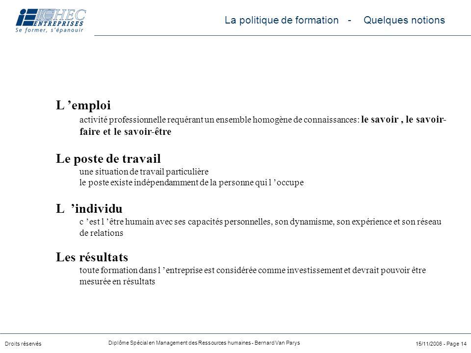 Droits réservés Diplôme Spécial en Management des Ressources humaines - Bernard Van Parys 15/11/2006 - Page 14 L 'emploi activité professionnelle requ