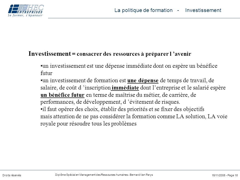 Droits réservés Diplôme Spécial en Management des Ressources humaines - Bernard Van Parys 15/11/2006 - Page 18 Investissement = consacrer des ressourc