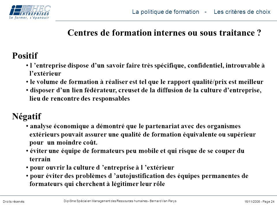Droits réservés Diplôme Spécial en Management des Ressources humaines - Bernard Van Parys 15/11/2006 - Page 24 Positif l 'entreprise dispose d'un savo
