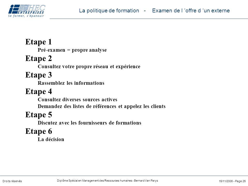 Droits réservés Diplôme Spécial en Management des Ressources humaines - Bernard Van Parys 15/11/2006 - Page 25 Etape 1 Pré-examen = propre analyse Eta