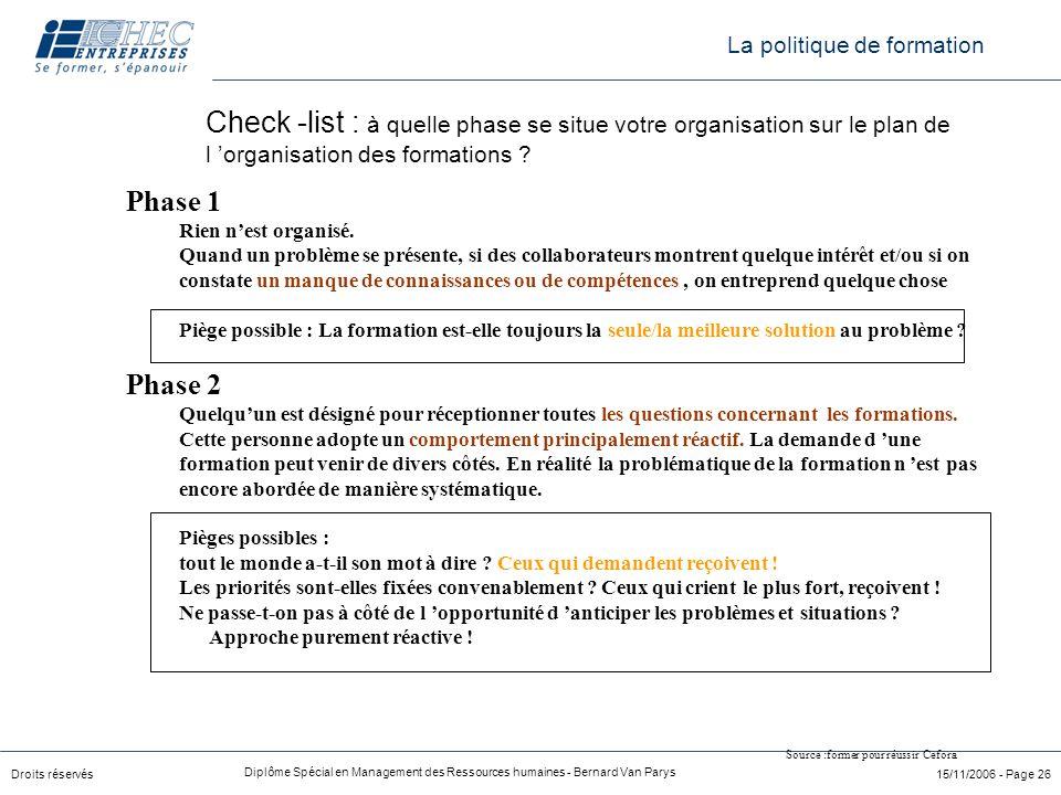 Droits réservés Diplôme Spécial en Management des Ressources humaines - Bernard Van Parys 15/11/2006 - Page 26 Check -list : à quelle phase se situe v