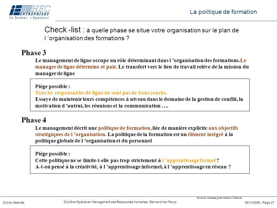 Droits réservés Diplôme Spécial en Management des Ressources humaines - Bernard Van Parys 15/11/2006 - Page 27 Phase 3 Le management de ligne occupe u