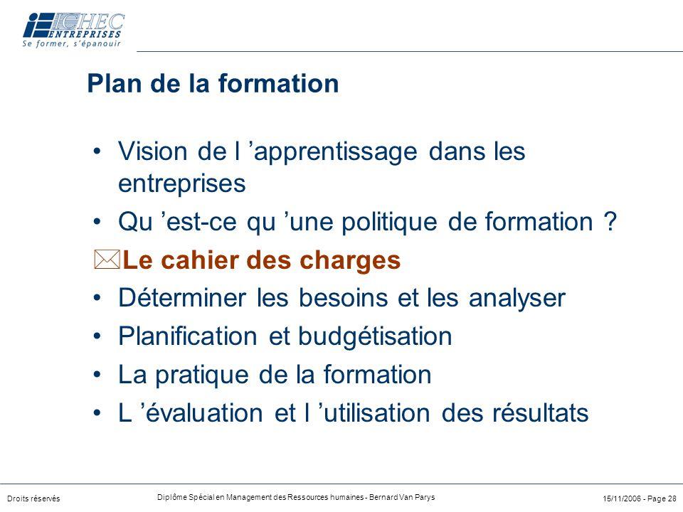 Droits réservés Diplôme Spécial en Management des Ressources humaines - Bernard Van Parys 15/11/2006 - Page 28 Plan de la formation Vision de l 'appre