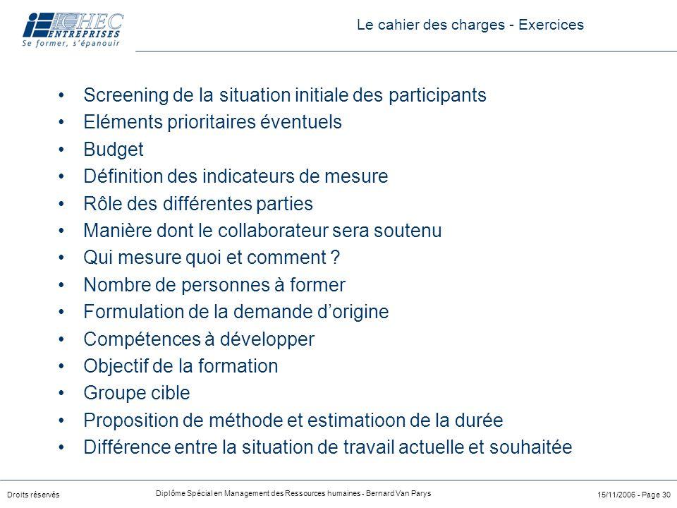 Droits réservés Diplôme Spécial en Management des Ressources humaines - Bernard Van Parys 15/11/2006 - Page 30 Screening de la situation initiale des