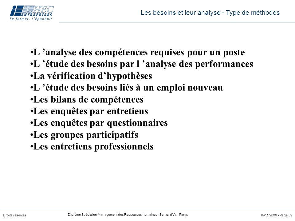 Droits réservés Diplôme Spécial en Management des Ressources humaines - Bernard Van Parys 15/11/2006 - Page 39 L 'analyse des compétences requises pou