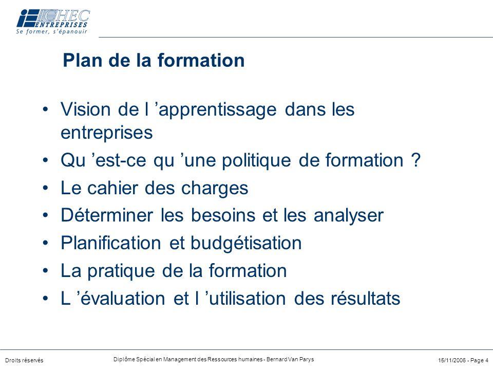 Droits réservés Diplôme Spécial en Management des Ressources humaines - Bernard Van Parys 15/11/2006 - Page 4 Plan de la formation Vision de l 'appren