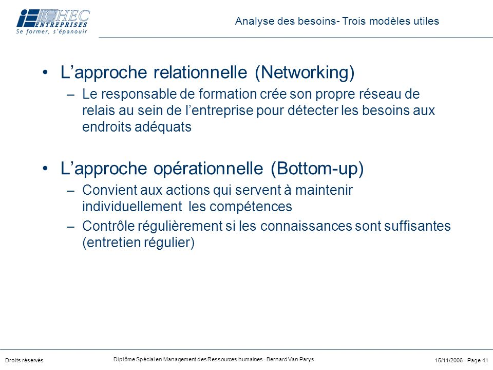 Droits réservés Diplôme Spécial en Management des Ressources humaines - Bernard Van Parys 15/11/2006 - Page 41 L'approche relationnelle (Networking) –