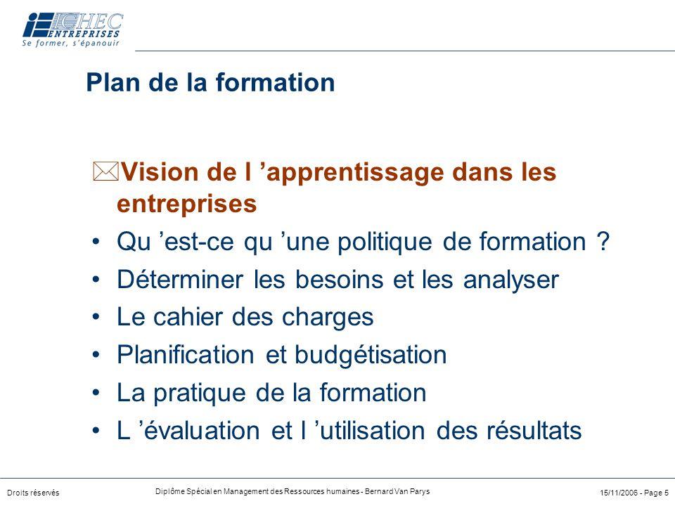 Droits réservés Diplôme Spécial en Management des Ressources humaines - Bernard Van Parys 15/11/2006 - Page 5 Plan de la formation *Vision de l 'appre
