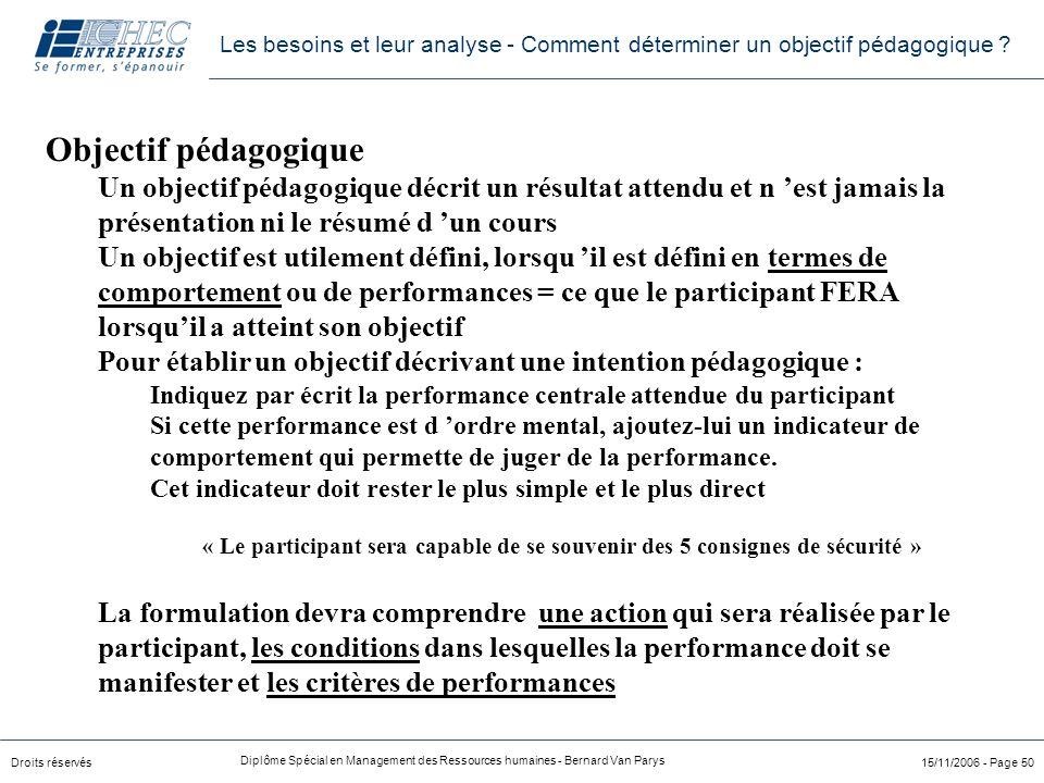Droits réservés Diplôme Spécial en Management des Ressources humaines - Bernard Van Parys 15/11/2006 - Page 50 Objectif pédagogique Un objectif pédago