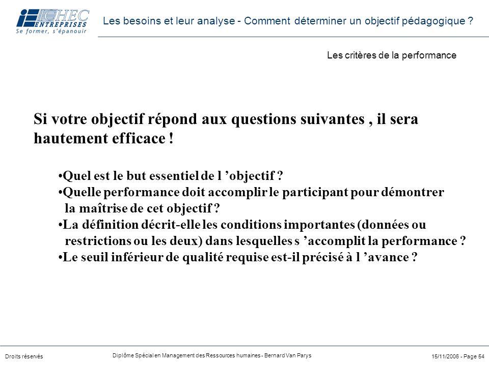 Droits réservés Diplôme Spécial en Management des Ressources humaines - Bernard Van Parys 15/11/2006 - Page 54 Si votre objectif répond aux questions