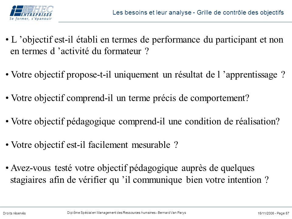 Droits réservés Diplôme Spécial en Management des Ressources humaines - Bernard Van Parys 15/11/2006 - Page 57 L 'objectif est-il établi en termes de