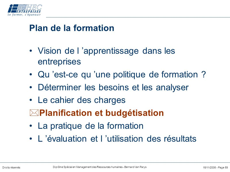 Droits réservés Diplôme Spécial en Management des Ressources humaines - Bernard Van Parys 15/11/2006 - Page 59 Plan de la formation Vision de l 'appre