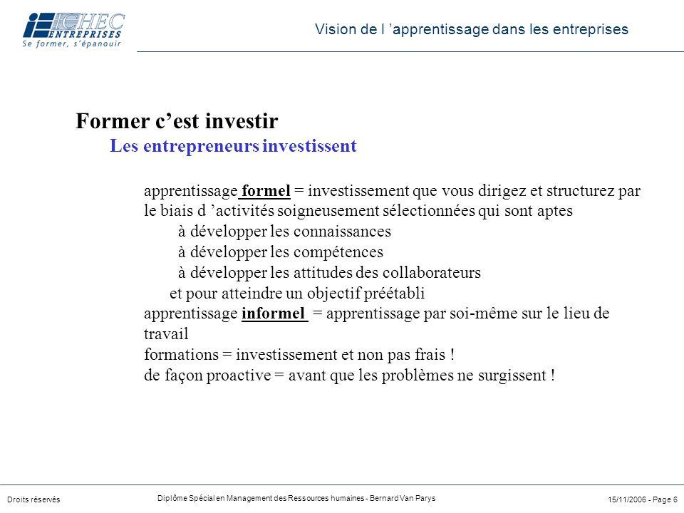 Droits réservés Diplôme Spécial en Management des Ressources humaines - Bernard Van Parys 15/11/2006 - Page 6 Vision de l 'apprentissage dans les entr