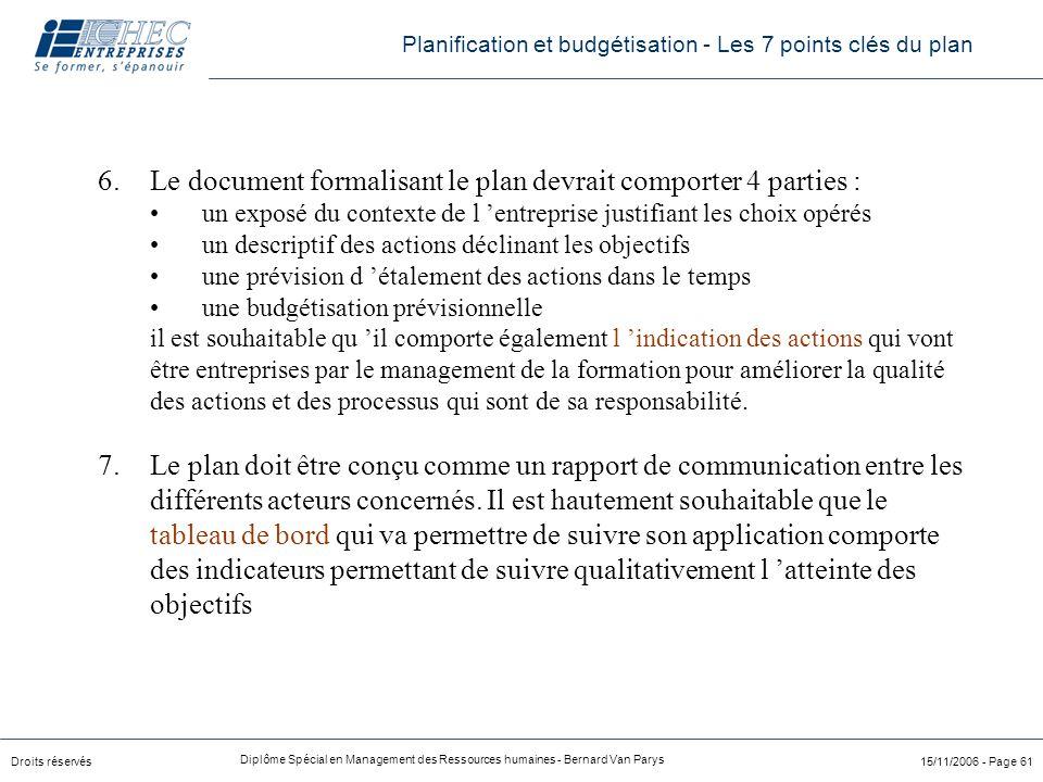 Droits réservés Diplôme Spécial en Management des Ressources humaines - Bernard Van Parys 15/11/2006 - Page 61 6.Le document formalisant le plan devra