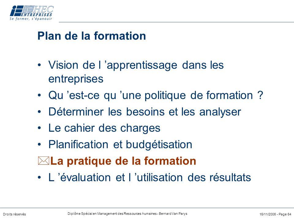 Droits réservés Diplôme Spécial en Management des Ressources humaines - Bernard Van Parys 15/11/2006 - Page 64 Plan de la formation Vision de l 'appre
