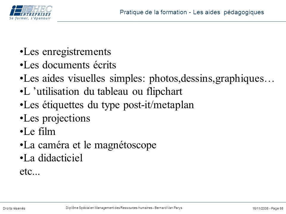 Droits réservés Diplôme Spécial en Management des Ressources humaines - Bernard Van Parys 15/11/2006 - Page 68 Les enregistrements Les documents écrit