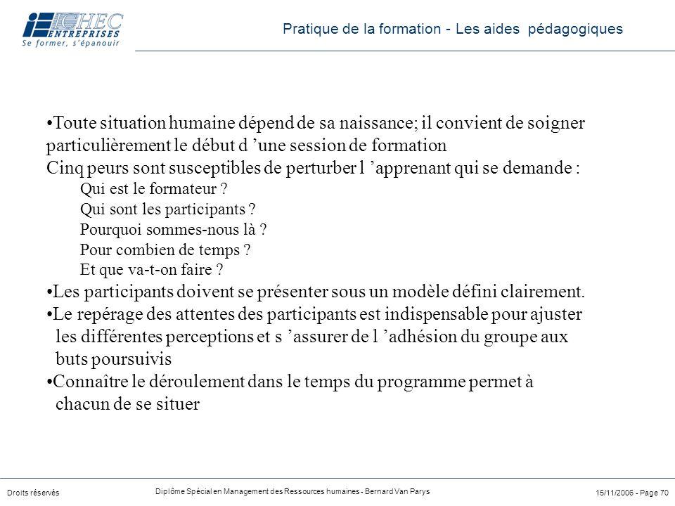 Droits réservés Diplôme Spécial en Management des Ressources humaines - Bernard Van Parys 15/11/2006 - Page 70 Toute situation humaine dépend de sa na