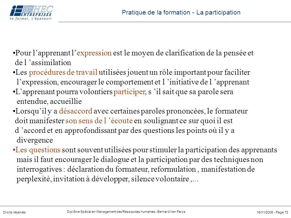 Droits réservés Diplôme Spécial en Management des Ressources humaines - Bernard Van Parys 15/11/2006 - Page 72 Pour l'apprenant l'expression est le mo