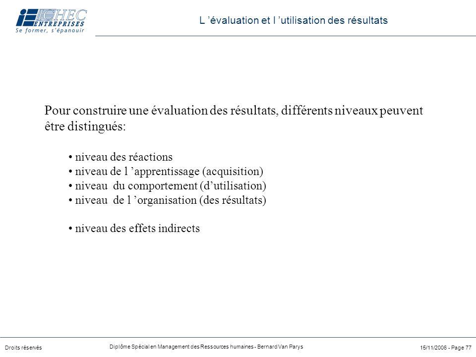 Droits réservés Diplôme Spécial en Management des Ressources humaines - Bernard Van Parys 15/11/2006 - Page 77 Pour construire une évaluation des résu