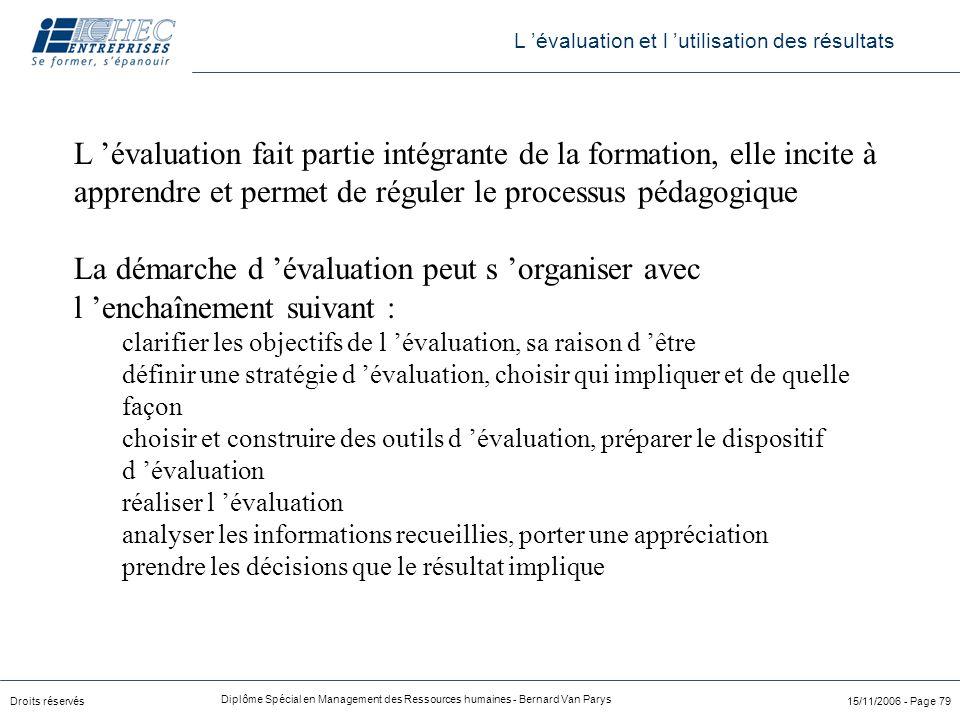 Droits réservés Diplôme Spécial en Management des Ressources humaines - Bernard Van Parys 15/11/2006 - Page 79 L 'évaluation fait partie intégrante de
