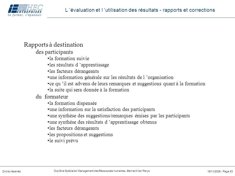 Droits réservés Diplôme Spécial en Management des Ressources humaines - Bernard Van Parys 15/11/2006 - Page 83 Rapports à destination des participants